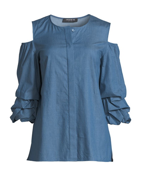 Poppy Ruched-Cuff Denim Blouse
