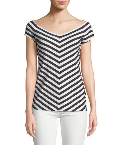 Reese Bedford Stripe Short-Sleeve Top
