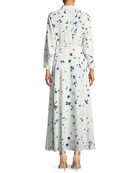 Siya Femme Flair Splatter-Print Long Dress