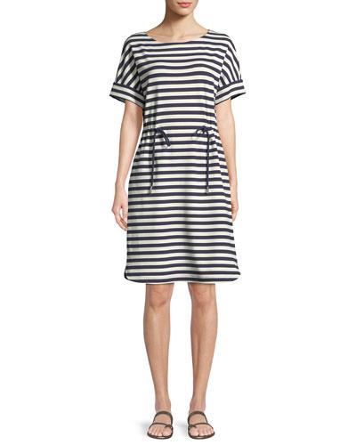Brandon Bedford Striped Drawcord Dress