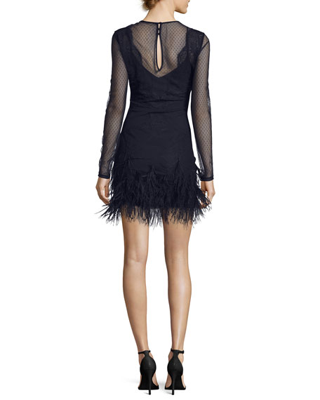 Amabella Embroidered Cocktail Dress with Ditsy Mesh & Feathered Hem
