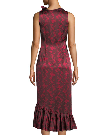 Nanon Sleeveless Ruched Floral-Print Midi Cocktail Dress