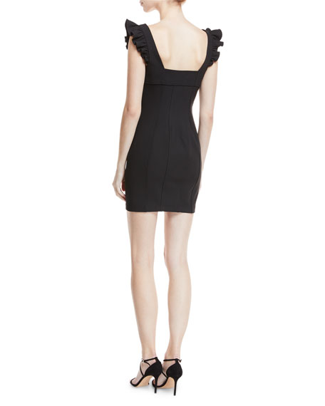 Jolie Mathis Sweetheart-Neck Seamed Mini Cocktail Dress