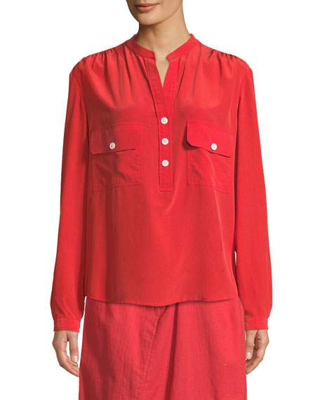 Long-Sleeve Button-Placket Silk Blouse