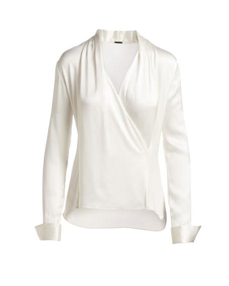 Shelly Long-Sleeve Surplice Silk Satin Blouse