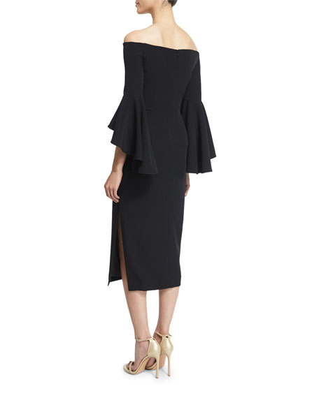 Selena Off-The-Shoulder Midi Dress, Black