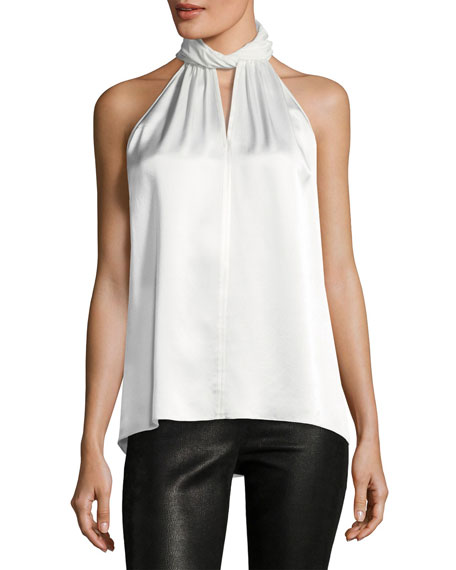 Elastia Sleeveless High-Neck Silk Blouse