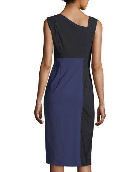 Sleeveless Asymmetric-Neck Midi Dress