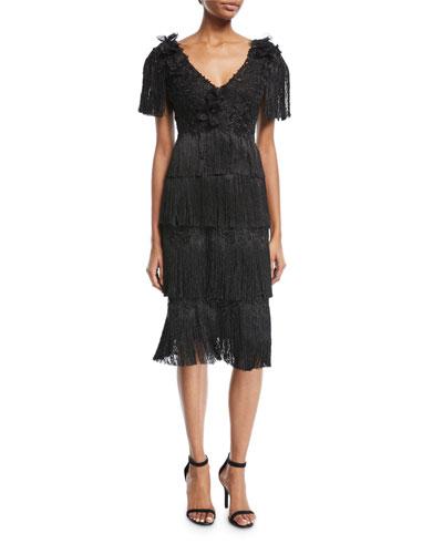 Tiered Fringe Knee-Length Cocktail Dress