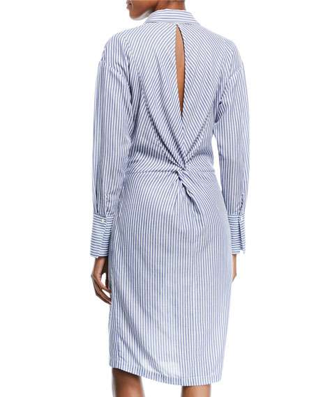Stripe Shirt Dress w/ Twist Front
