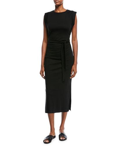 Wrap-Waist Cotton Midi Dress