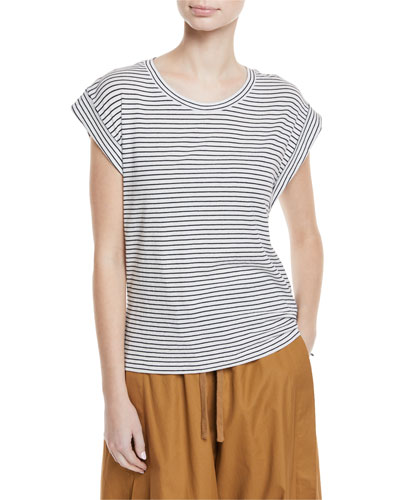 Classic Stripe Cotton Tee w/ Rolled Sleeves