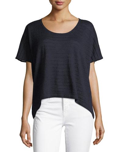 Textured Stripe Wool-Cashmere Top