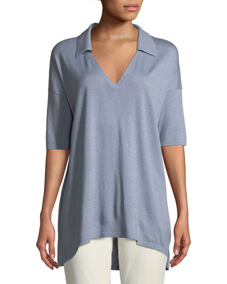 Lafayette 148  CASHMERE-BLEND RELAXED MODERN-FIT POLO SHIRT