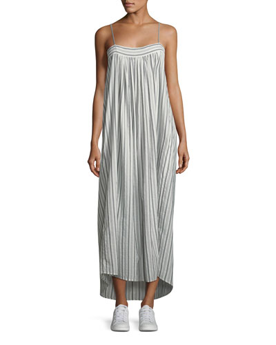 Striped Sleeveless Column Maxi Dress