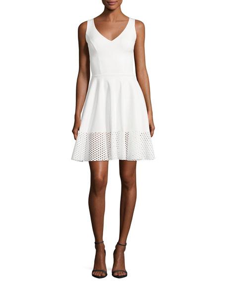 Lelia Eyelet-Hem A-Line Mini Cocktail Dress