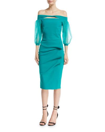 Saida Keyhole Organza-Sleeve Cocktail Dress