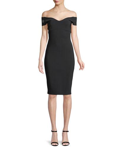 Toffee Off-the-Shoulder Grommet-Sleeve Dress