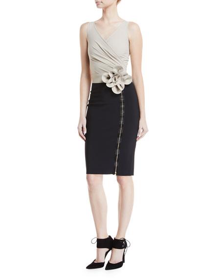 Anika Two-Tone 3D Flower Zip Cocktail Dress