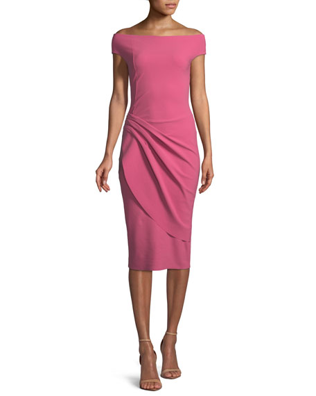Chiku Sheath Dress w/ Asymmetric Apron Skirt