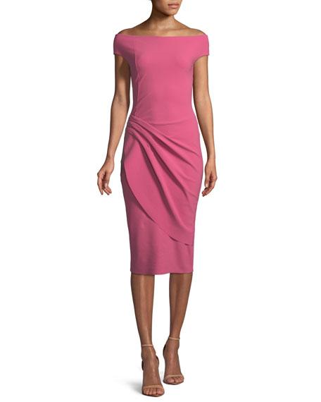 Chiku Sheath Dress w/ Asymmetric Apron Skirt