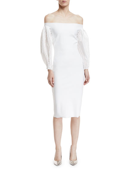 Anonna Eyelet-Sleeve Cocktail Sheath Dress