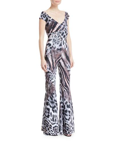 Thofa Animal-Print Flared Jumpsuit