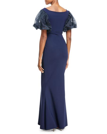 Imma Organza-Sleeve Wrap Gown