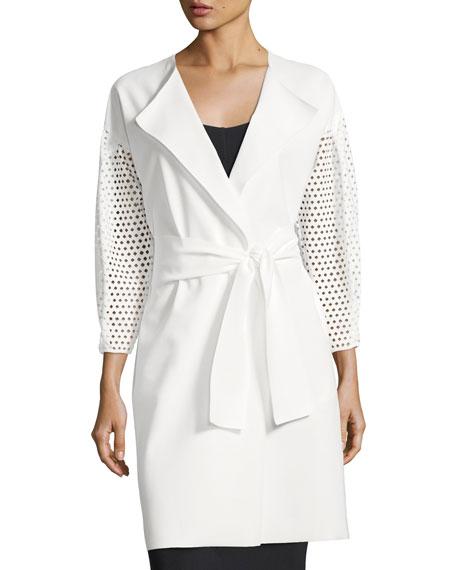 Kataline Laser-Cut Self-Tie Coat