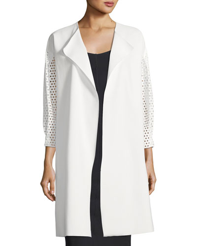 Kataline Laser-Cut Self-Tie Coat