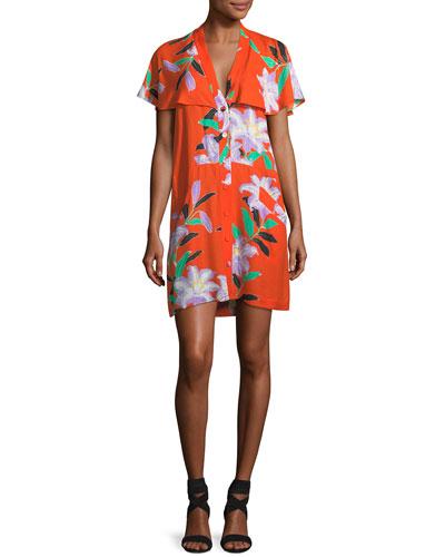 Short-Sleeve Open-Back Floral-Print Short Dress