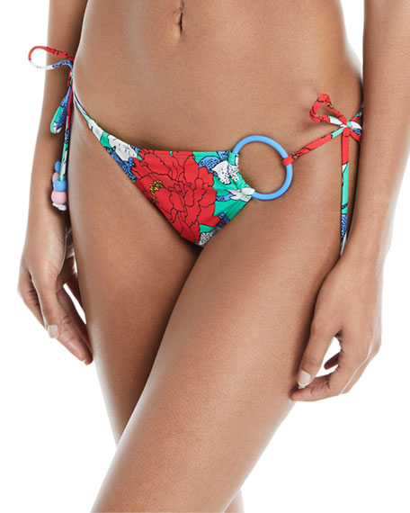 O-Ring Floral-Print Cheeky Swim Bottoms