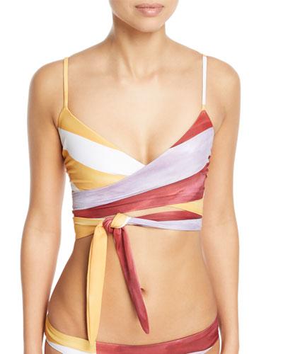 Mila Striped Wrap Swim Top