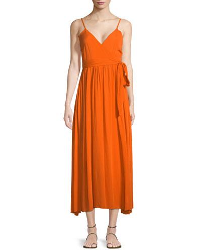 Alma Sleeveless Wrap-Front Maxi Dress