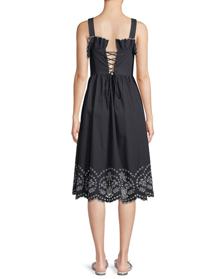 Alouette Sleeveless Eyelet Cotton Lace-Back Sun Dress