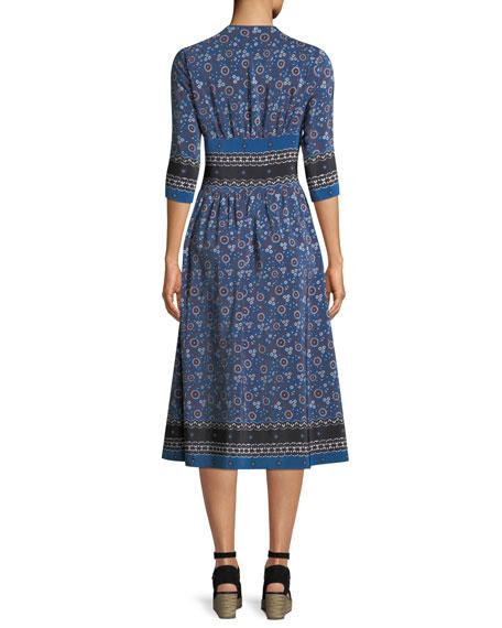 Tallulah 3/4-Sleeve Printed Silk Midi Dress