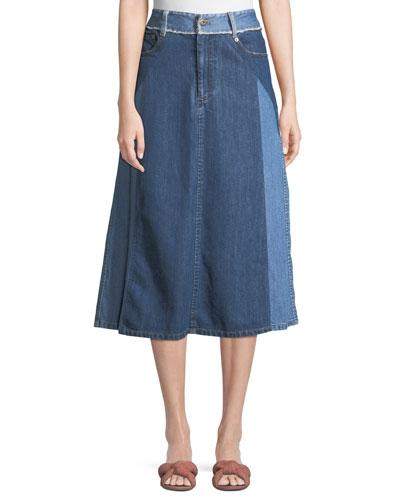 Two-Tone Denim A-Line Midi Skirt