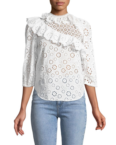 Edie Eyelet Lace 3/4-Sleeve Cotton Top