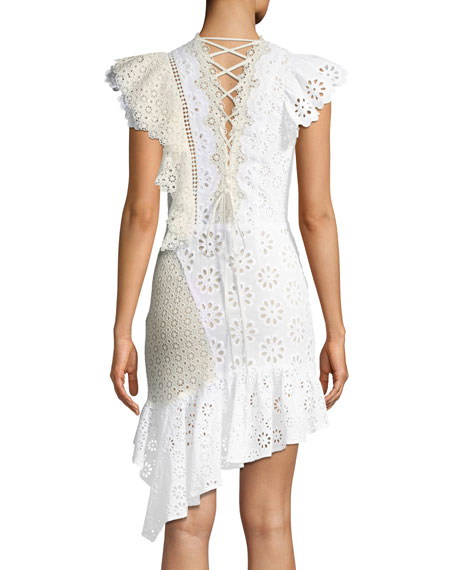 Edie Eyelet Lace-Back Asymmetric Ruffle Dress
