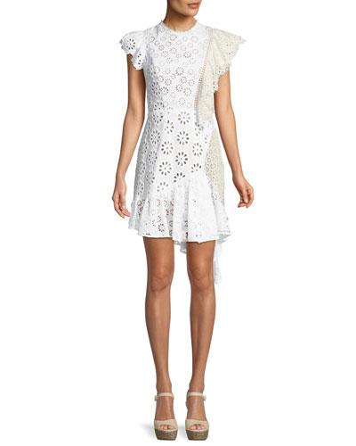 Edie Eyelet Lace-Back Asymmetric Ruffle Dress