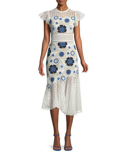 Figgy Floral-Eyelet Flutter Midi Dress