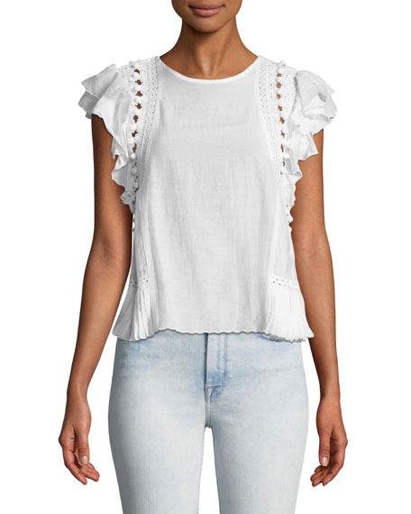 Khloe Crochet Pompom Sleeveless Cotton-Blend Top
