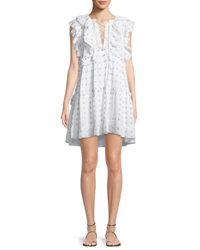 Colette Embroidered Ruffle Cotton Dress