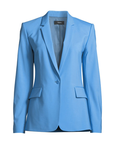56666f3d17 Theory Essential One-Button Stretch-Wool Jacket