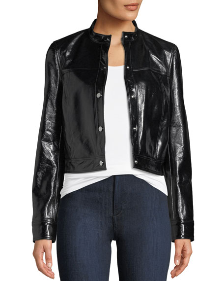 Snap-Front Patent Leather Mod Bomber Jacket
