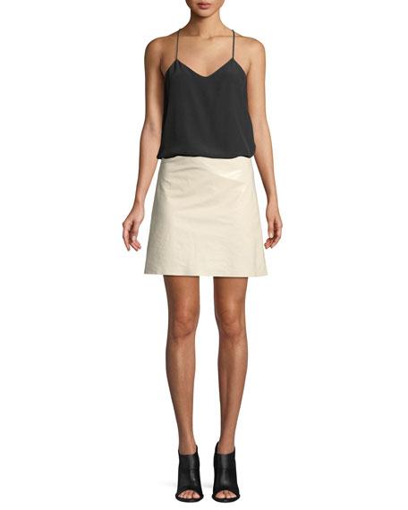 High-Waist Crinkle Patent Leather Mini Skirt