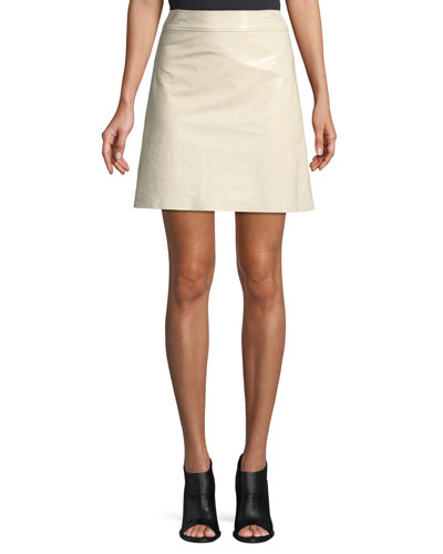 High-Waist Crinkle Patent Leather Mini Skirt