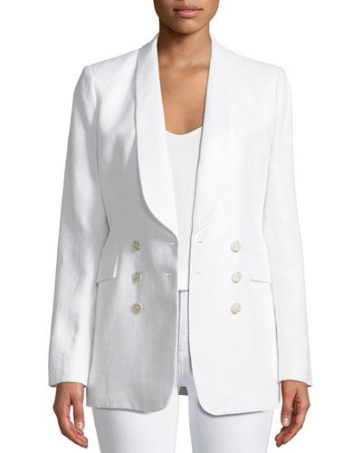 Shawl-Collar Double-Breasted Integrate Linen Blazer