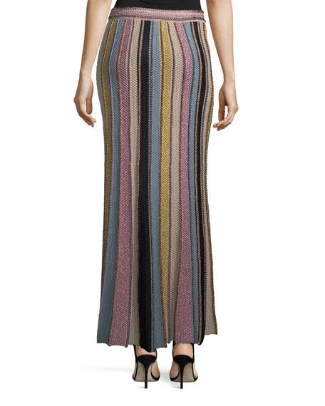 Vertical Striped Crochet Maxi Skirt