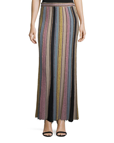 Vertical Striped Crochet Maxi Skirt